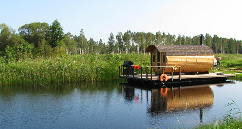Three Room Barrel Wooden Sauna from Sauneco