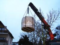 Barrel sauna transport Sauneco
