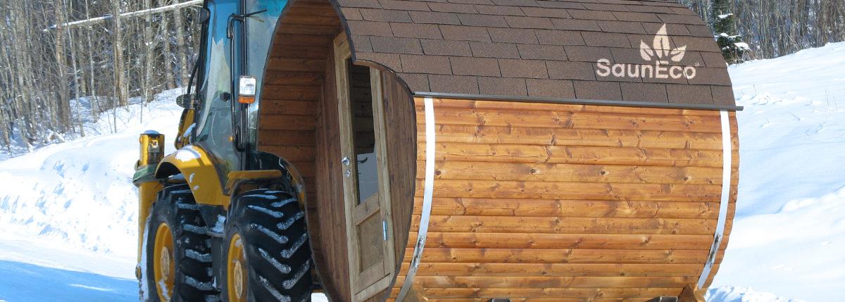 Wooden Barrel Sauna T20H from Sauneco
