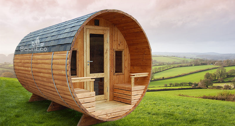 Two Room Barrel Sauna from Sauneco